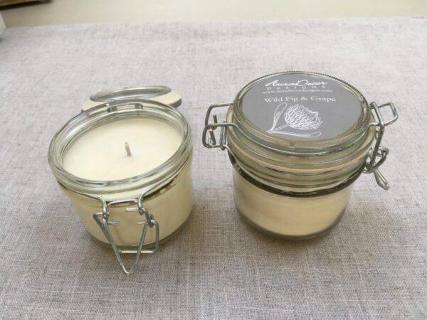 Natural wax candle in glass storage jar - AuraDecor Designs